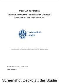 Screenshot Deckblatt der Studie zu Problemen der Kinderrechte in der Biomedizin
