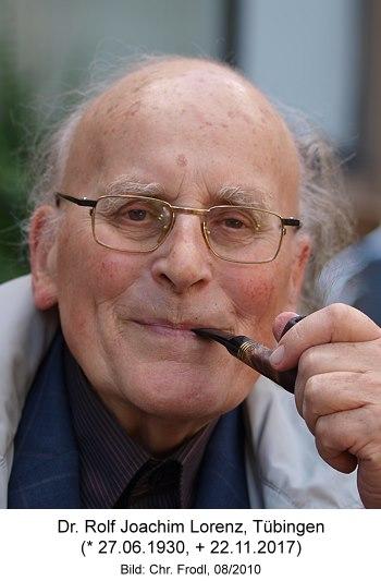 """Dr. Rolf Lorenz (* 1930  + 2017), Tübingen, Träger des Verdienstkreuzes am Bande des Verdienstordens der Bundesrepublik Deutschland, Initiator der """"Tübinger Initiative gegen die Bioethik-Konvention"""""""