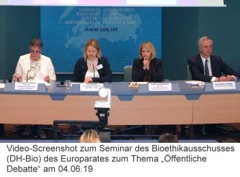 """Screenshot Videoaufzeichnung Seminar des Bioethikausschusses (DH-Bio) des Europarates zum Thema """"Öffentliche Debatte"""" am 04.06.19"""